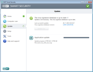 Windows 10 compatibility with ESET, Application update image